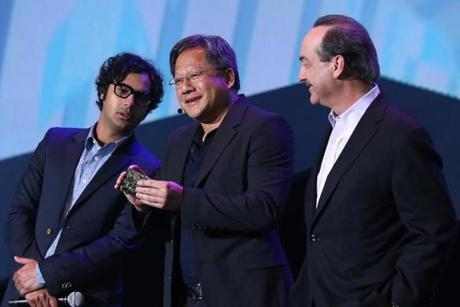 Actor Kunal Nayyar, Nvidia chief executive Hsun Huang, and Ralph de la Vega of AT&T Mobility also gave a presentation Monday at the CES trade show.